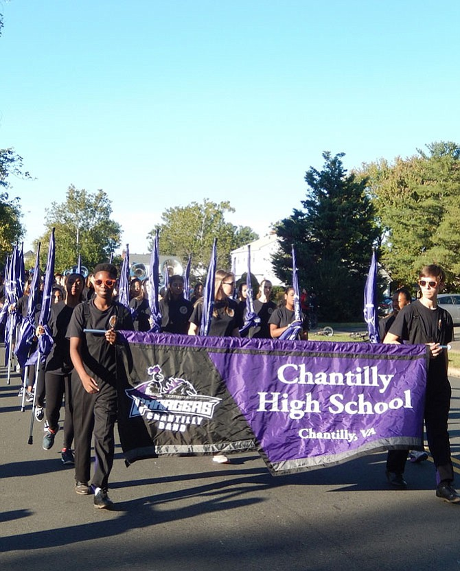 Chantilly High's marching band in the homecoming parade on Oct. 20.