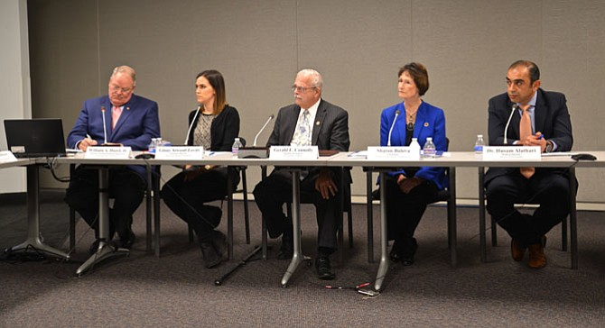 At the roundtable addressing the Opioid Epidemic. Speakers included U.S. Rep. Gerry Connolly, Fairfax County Board Chair Bulova, and members of law enforcement, the medical profession, nonprofits, treatment providers, and state Secretary of Health and Human Services William Hazel.