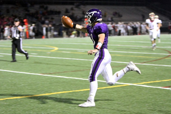 Homecoming King Christian Parana scores on a 42-yard reception in the 4th quarter. Chantilly lost to Oakton 52-21 on Oct. 20.  With the Homecoming loss, Chantilly falls to 0-8 on the season.