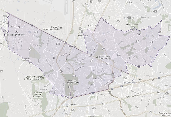 The 67th District stretches from South Riding through Sully Station and Penderwood. (map from the Virginia Public Access Project)