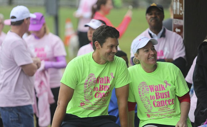 Dr. David Weintritt, left, founder of the National Breast Center Foundation, and breast cancer survivor Martha Carucci at the 2017 Walk to Bust Cancer Oct. 15 at Fort Hunt Park. More than 500 participants turned out for the walk organized by Carucci and Weintritt.