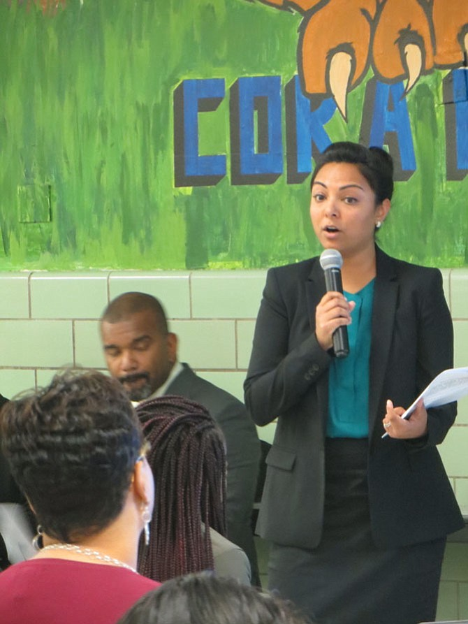 Sabrina Khan from Advancement Project outlines restorative practices for parents and students at  Cora Kelly School for Math, Science and Technology on Oct. 25.