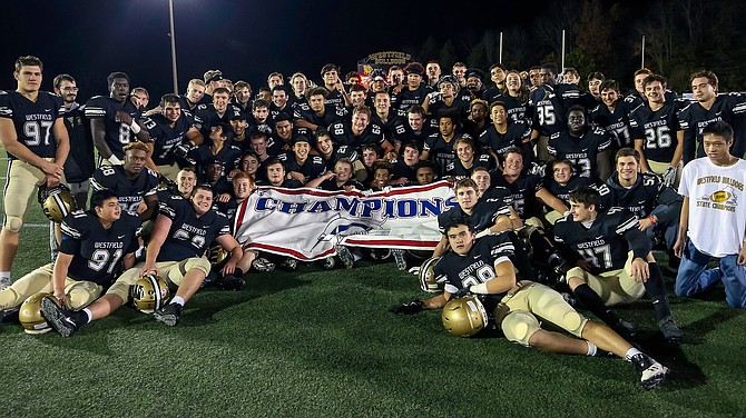 The Westfield Bulldogs show off their 2017 Concorde District Champions banner after defeating Chantilly 46-7, while ending the regular season 10-0. The Westfield Bulldogs and Chantilly Chargers played in the regular season finale on Nov. 3. Chantilly ends their season at (0-10) while Westfield finishes at (10-0). Westfield will host Battlefield HS (7-3) on Friday, Nov. 10.