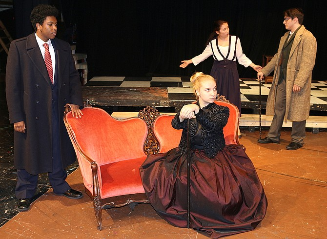 (From left) Daniel Jacobs (Prince Bounine), Mackenzie Bacarella (the empress), Gloria Whitfield (Anna) and Danny Mercuri (Serensky) rehearse a scene.