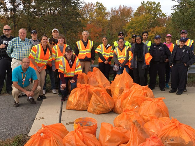 Volunteers ended up with 15 bags and a bucket of roadside litter at the end of the morning.