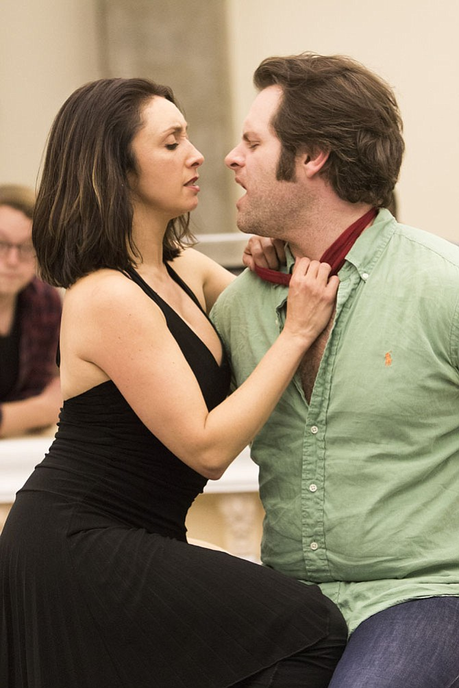 "Natascia Diaz and Cole Burden in rehearsal for ""Crazy for You"" at Signature Theatre."