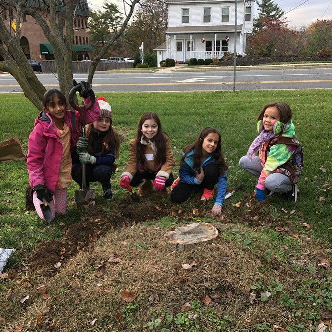 Tulsi Gupta, Katie Morey, Danya Levin, Anjali Kapur and Zoe Ireland from Potomac Elementary School Girl Scout Troop 2859 plant bulbs at Potomac Library Sunday.