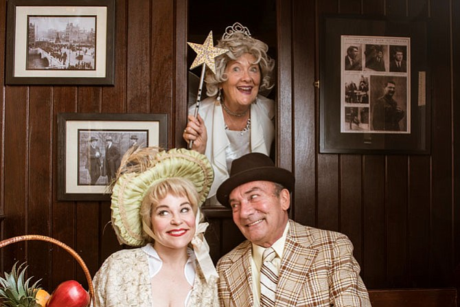 "Tracey Stephens, Catherine Flye, and Albert Coia  in MetroStage's production of ""Christmas at the Old Bull and Bush"" from Nov. 17 to Dec. 24."