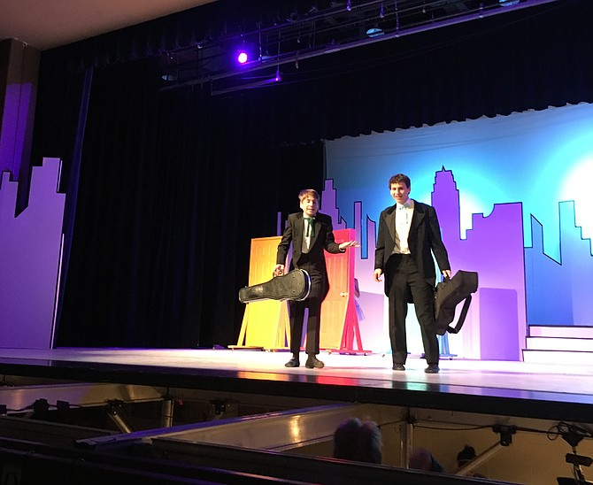 "Joseph Kaplan and Adam Hollies play Carnegie Hall musicians in Whitman High School's fall musical ""On the Town."""