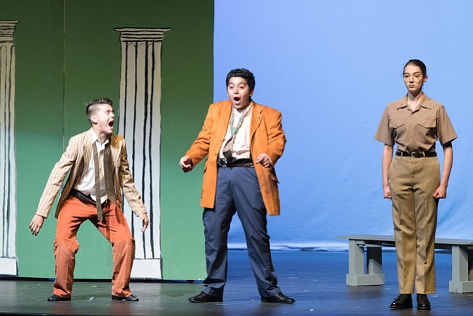 "From left: Trace Hollenbeck, Cristian Bonilla Lainez and Erin Maxwell in Herndon High's production of ""Twelfth Night."""