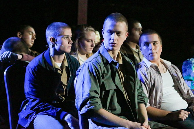 "From left are Brevan Collins, Josh Stein, and John McFarlane in West Potomac High School's performance of ""Dogfight."""