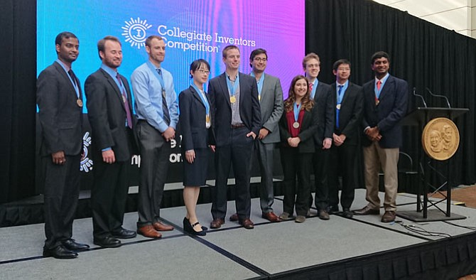 Winners pose for a group photo at the Collegiate Inventors Competition Awards ceremony Nov. 3 at the USPTO.