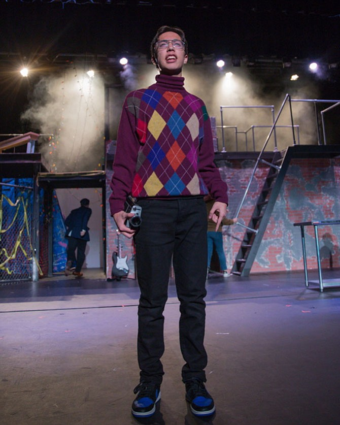 """Corbin Farrell in Hayfield Secondary School's  production of musical """"Rent."""""""