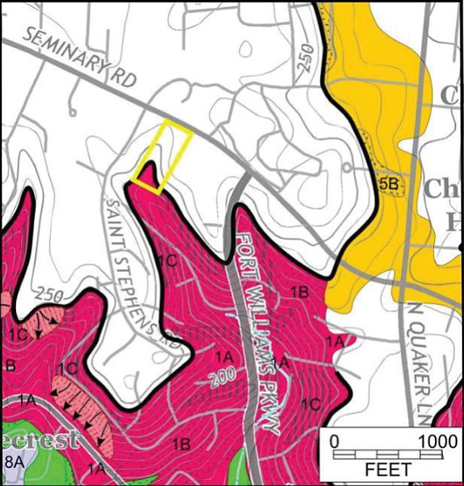 Alexandria's slope stability map showing part of the Karig Estates site in a red zone, meaning the site is susceptible to landslides.