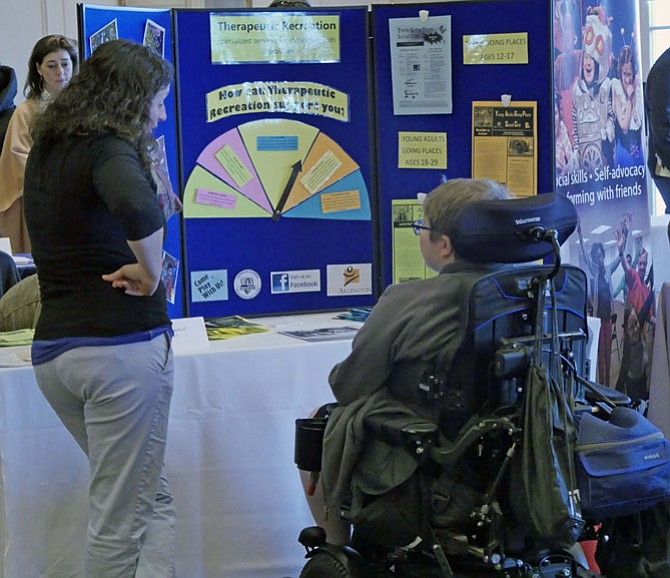 Booths assist students with disabilities by providing information on everything from county and Federal programs to assistance with filling out a job application and therapeutic recreation services.