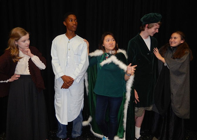 From left: Anna Krelovich, Jalin Dew, Faith Cho (Ghost of Christmas Past), Wade Parker and Nora Lewis rehearse a scene.