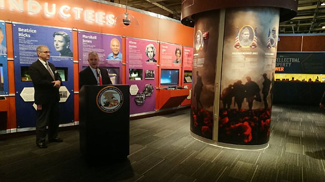 Fred Steckler, chief administrator of the U.S. Patent and Trademark Office, makes remarks after unveiling the Visionary Veterans exhibit Nov. 9 at the National Inventors Hall of Fame. The exhibit showcases the innovations of five veterans from World War I.