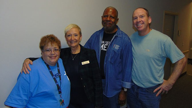 At the kickoff of the FACETS' Hypothermia Prevention and Response Program at Annandale United Methodist Church are (from left): Cyndi Jones, FACETS point of contact; Brenda Dushko, FACETS development director; the Rev. Dr. Clarence Brown Jr., pastor of Annandale United Methodist Church; and Joe Fay, FACETS' executive director.