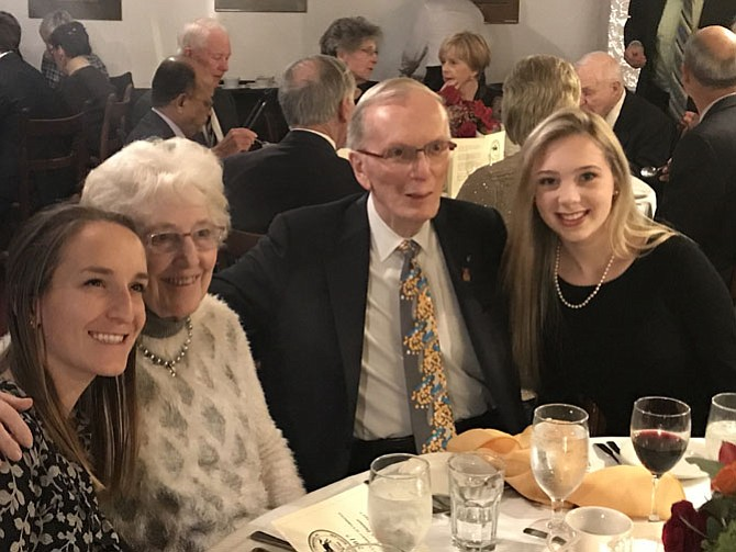 Potomac Chamber 2017 Citizen of the Year Dr. John Sever with his wife and granddaughters. Sever, as both a Rotarian and head of infectious disease at NIH, has been instrumental in a worldwide effort to eradicate polio since 1978.