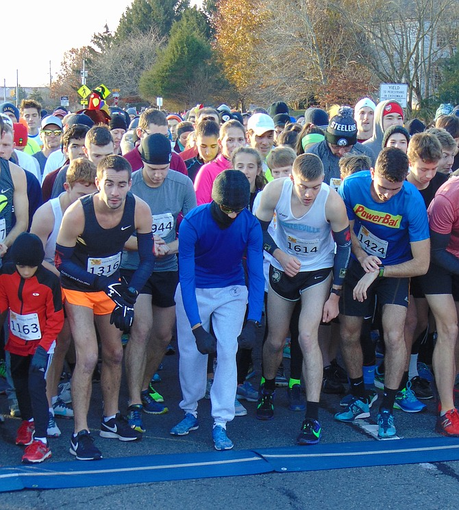 Runners at the starting line for the 29th Annual Virginia Run Turkey Trot on Thanksgiving morning, Thursday, Nov. 23, in Centreville.
