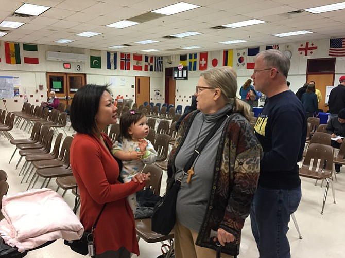 Delegate-elect Kathy Tran (D-42) made the trip from Richmond to catch the last part of the meeting.