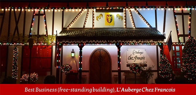 L'Auberge Chez François restaurant on Springvale Road won last year's contest in business category.