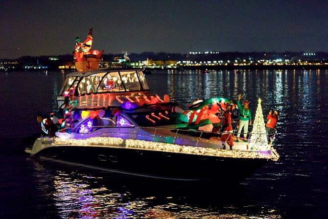 The powerboat Kairos took home Best Theme honors Dec. 2 in the 18th annual Holiday Boat Parade of Lights on the Potomac River. More than 50 boats participated in the mile-long parade of illuminated vessels along the Alexandria waterfront.