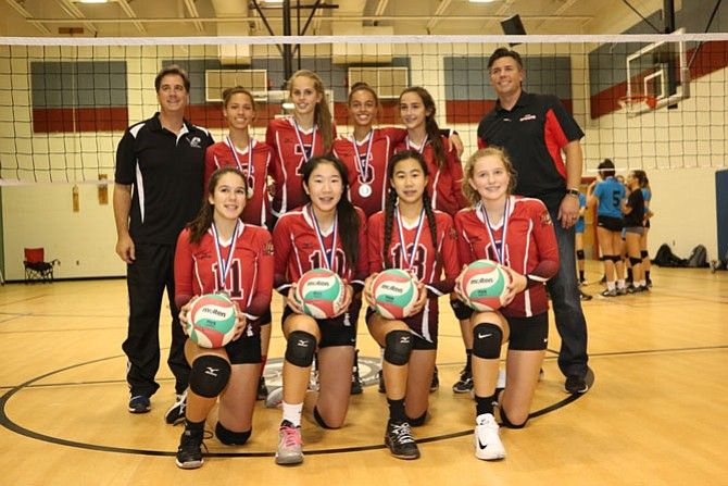 In a tight, three-set final, VYI's middle school travel volleyball team, coached by Rob Garrett and Rob Mooney, beat the Vienna Elite U14 Club team to win the NVTL county championship.