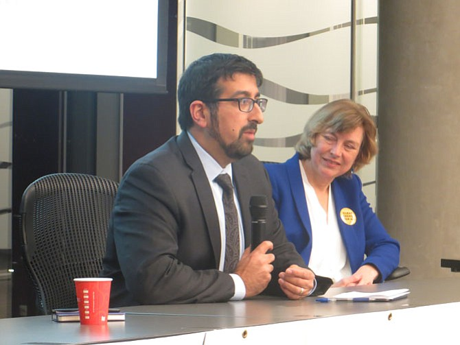 Praveen Kathpal (left), vice chair of the Alexandria Environmental Policy Commission, and Ivy Main (right), renewable energy chair for the Virginia chapter of the Sierra Club.