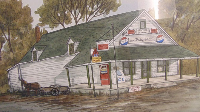 An artist's rendering of Carson's Trading Post in Burke.