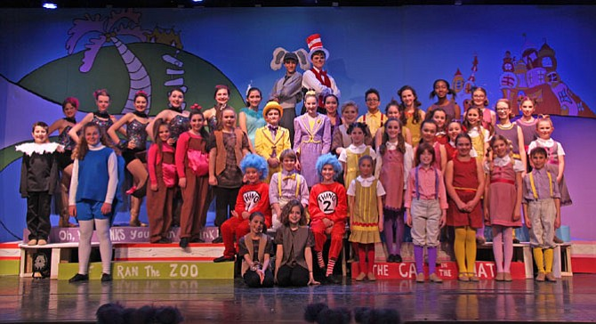 "The Aldersgate Church Community Theater cast of ""Seussical, Jr."" in rehearsal."