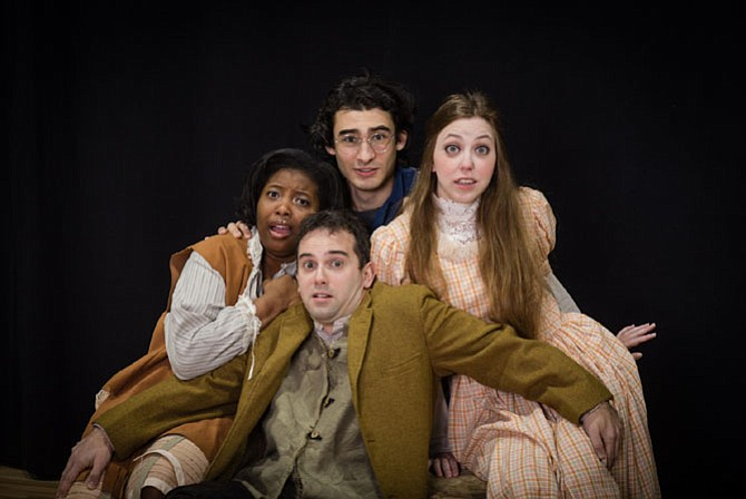 "From left: Binta Barry as Ted, Jake Lefler as Prentiss, Raeanna Nicole Larson as Molly Aster and Gary Bernard DiNardo as Boy/Peter in ""Peter and the Starcatcher"" from Reston Community Players."