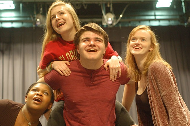 Grace, Ugly, Ida and the Cat look toward bright futures once they're reunited and home at last. (From left) are Tatiana Jones (Grace/Bullfrog), Craig Goeringer, Samantha Price and Eila Nash.