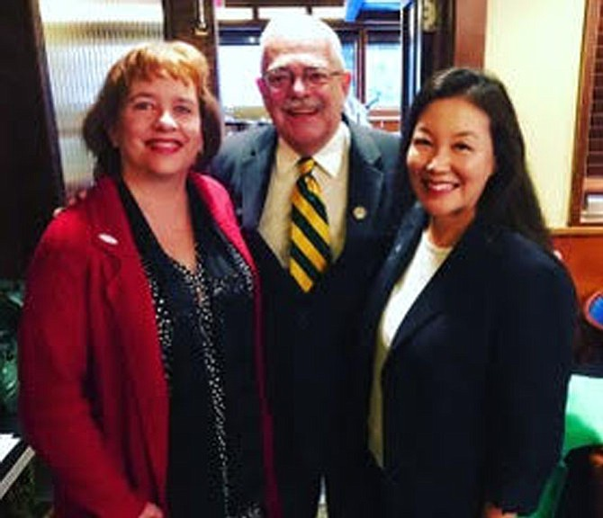 U.S. Rep. Gerry Connolly (D-11) (center) pictured with Herndon Town Councilmembers Sheila Olem (left) and Grace Wolf Cunningham (right) at the Dulles Area Democrats breakfast held Monday, Jan. 22. While there he spoke about the Government shutdown 2018 and the 2018 midterm elections.