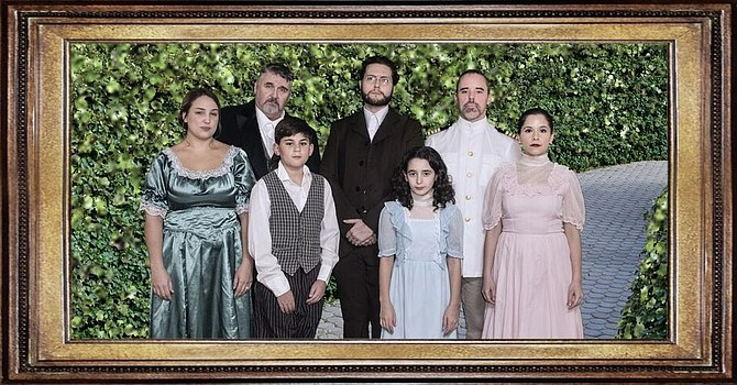 The Secret Garden family photo: Back row, from left, are Steve Cairns (Archibald Craven), Eric Jones (Dr. Neville Craven), and Paul Loebach (Captain Albert Lennox). Front row, from left, are Megan Evans (Lily), Blake Strauch (Colin), Meredith Abramson (Mary Lennox), and Michelle Moses-Eisenstein (Rose Lennox).