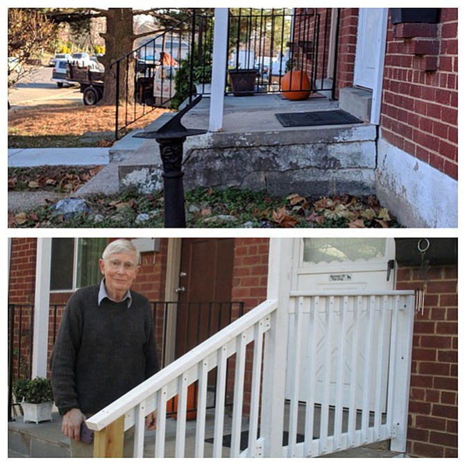 Before and after photo of Arthur, a volunteer for Rebuilding Together Alexandria, building a safety handrail for an in-need homeowner.