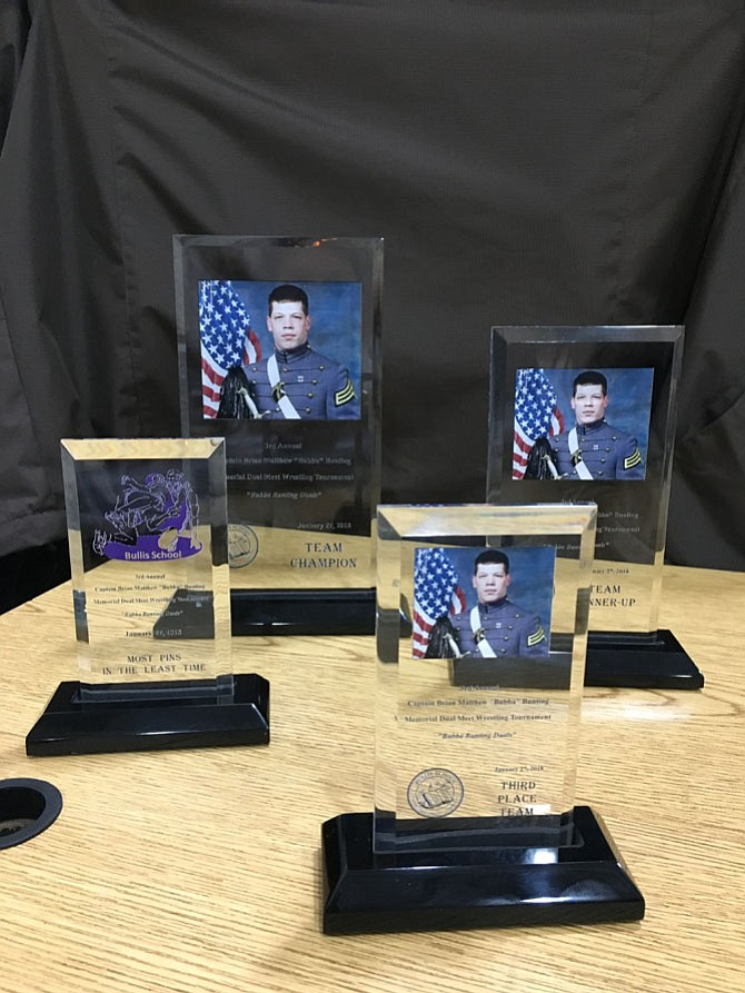 "Trophies from the Captain Brian Matthew ""Bubba"" Bunting wrestling tournament held at Bullis School on Saturday, Jan. 27."