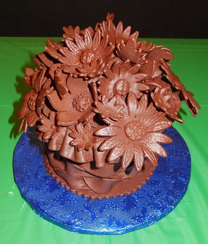 Flowers were sculpted out of chocolate for a previous Chocolate Challenge.