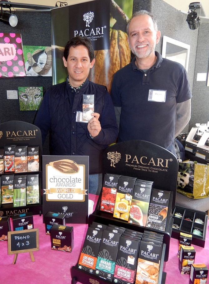 From left: Jose Velasquez and Galo Pazmino with Pacari chocolates, which have won more than 180 international awards.