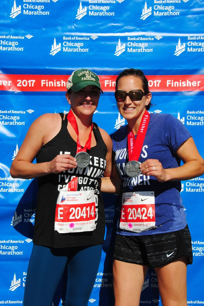 Dawn Tarter and her sister Andrea Reincke are pictured after finishing the Chicago Marathon.