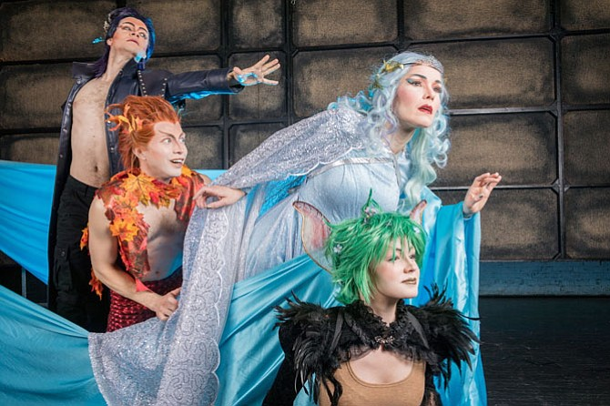 "From left: Owen Willetts as Oberon, Morgan White as Puck, Heather Buck as Tytania and Hannah Ramsbottom as Peaseblossom in Virginia Opera's ""A Midsummer Night's Dream."""