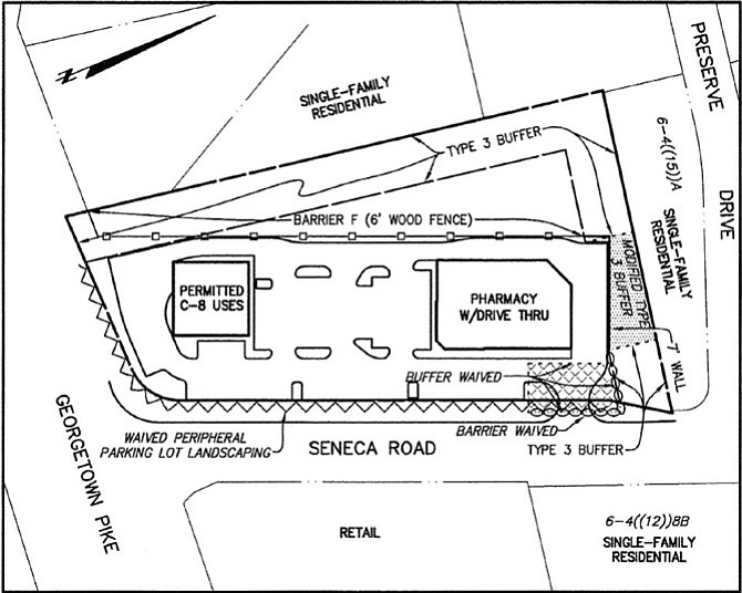 Aerial rendering of the site showing both buildings and parking lot.