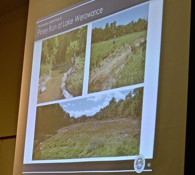 Before and after photos of Lake Werowance in Great Falls. When the dam failed during major storms about five years earlier, the lake disappeared. The county's plan to improve the Piney Run stream rather than rebuild the lake drew sharp opposition from the committee members in attendance.