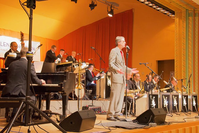 The Eric Felten Jazz Orchestra entertains at Flying Feet's Red Dress Ball in Glen Echo Park's historic Spanish Ballroom on Feb. 10.