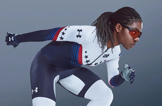 "Maame Biney, 18 of Reston, a member of the U.S. Olympic short-track speedskating team posted this photo of herself on her Instagram account, biney.biney on January 26, 2018. ""For once I'm not smiling. Want to thank U.A. (Under Armour, Inc.) for this pretty awesome suit #pyeongchang2018 #14daystogo."""