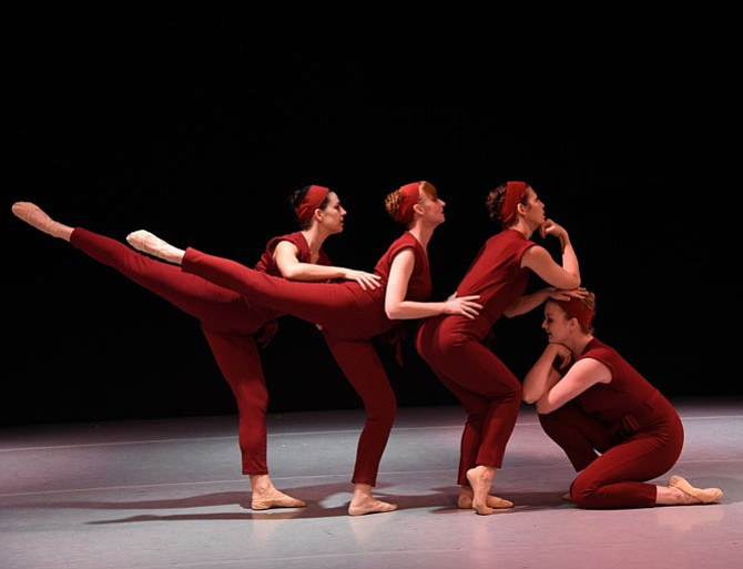 "Gin Dance Company in performance of ""Burgandy."" From left: Hannah Church, Michelle Conroy, Julia Hellmich, and Elizabeth Watson."