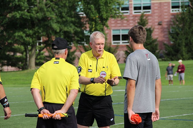Soccer referee Ben Glass at a scrimmage at Flint Hill High School last fall.