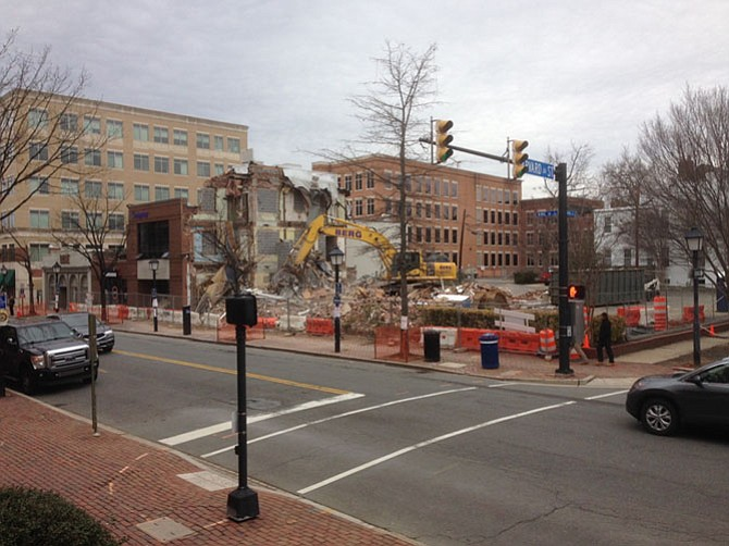 Demolition at the corner of King and Harvard streets.