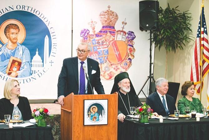 Prime Minister Cvijanovic, Royal Adjutant and St. Luke parishioner Branko Terzic, Bishop Irinej, HRH Prince Alexander and HRH Princess Katherine of Serbia.