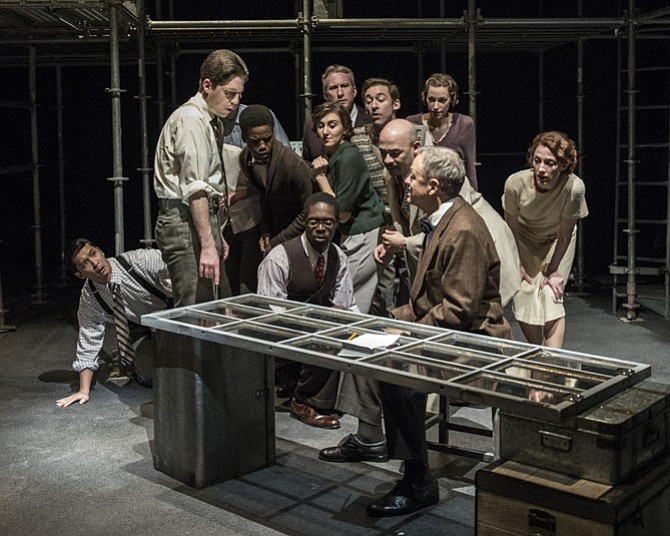 "Jacob Yeh, Sam Ludwig, Matthew Sparacino, Tendo Nsubuga, Jeremy Keith Hunter, Caroline Wolfson, Michael Crowley, Gary Dubreuil, Katrina Clark, Frank Britton, Edward Christian, and Amanda Forstrom in ""The Farnsworth Invention"" at 1st Stage."